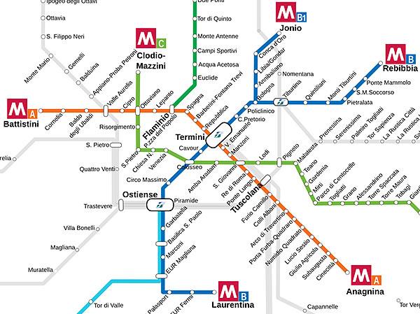 Rzym docelowy plan metra i kolei